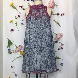 Angie high neck embroidered swing dress